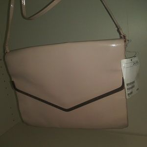 H&M light pink and rose gold purse evening